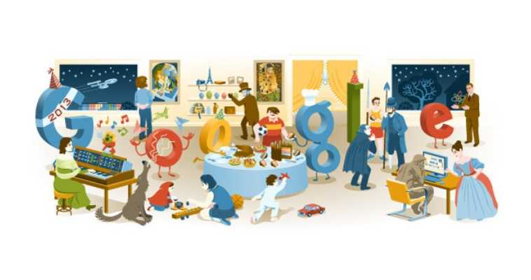 Google nos felicita la Nochevieja reuniendo los mejores 'doodles' de 2012 en uno