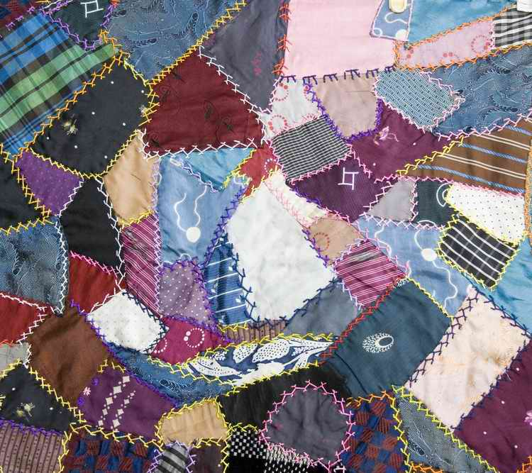 Patchwork quilt made of assorted colors and fabric